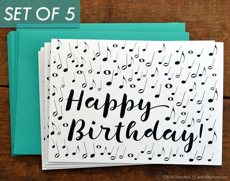 Set of 5 music note birthday cards music birthday card zoom bookmarktalkfo Images
