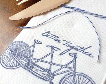 """Wedding Napkins. Bridal Shower Decor. Tandem Bike. """"Better Together"""" Set of 10."""