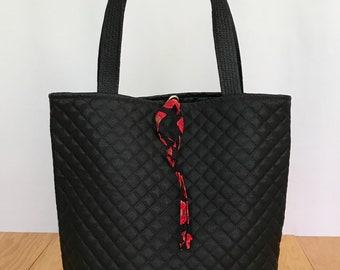 Black Quilted Tote Bag, Quilted Bag, Book Bag, Shoulder Bag, Tote Bag
