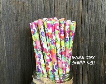 Floral Paper Straws, Flower Paper Straws, 100 Birthday Straws, Baby Shower, Wedding Supply,  Free Shipping