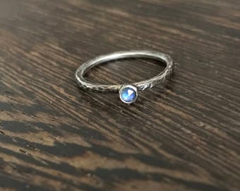 Moonstone ring, moonstone stack ring, rose cut moonstone ring, oxidised silver, rustic stacking ring, rainbow moonstone, gemstone ring,
