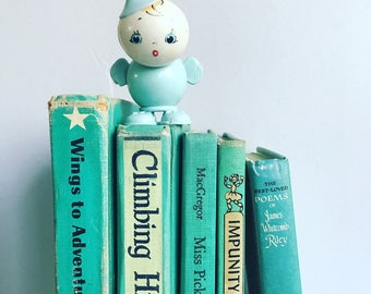 Vintage Teal Books by the Foot Instant Library Decorative Book Stack  Books for Wedding, Bookshelves , Display Etc