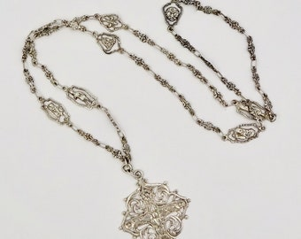 Antique FILLI COPPINI NECKLACE Sterling 800 Silver Gothic Byzantine Victorian Revival Cross Pendant Necklace