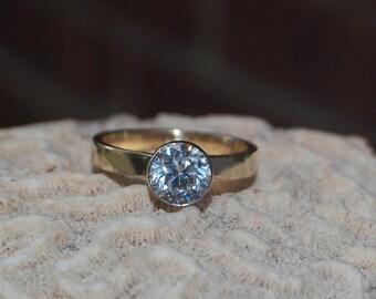 Diamond Engagement Ring- 14kt Yellow Gold band with White Gold Diamond bezel, Engagement Band