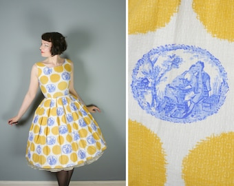 50s NOVELTY dress in textured cotton with YELLOW circles and TOILE de jouy scenes - full skirted rockabilly / Mid Century day dress - M