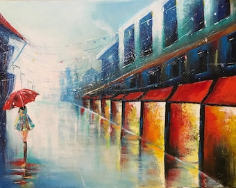 Rainy Cityscape with woman and umbrella