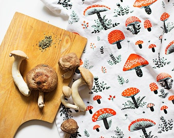 """Mushroom TeaTowel 100% cotton, 20""""x30"""", comes in a gift packaging with a complimentary recipe card"""