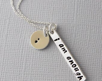 Suicide awareness necklace, I am enough, semi colon, my story isn't over, encouragement, recovery gift, affirmation necklace
