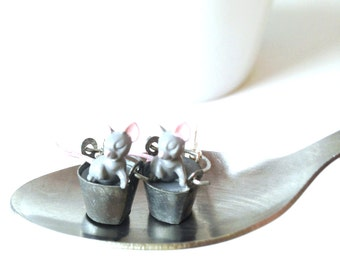 Earrings -- MICE WILL PLAY -- miniature mice and bucket earrings, grey by The Sausage