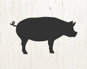 Pig SVG File, Pig SVG, Pig clipart, Farm svg, pig silhouette, Commercial Use svg - Cricut,Silhouette, Cameo, Vinyl Decal, Iron on Vinyl