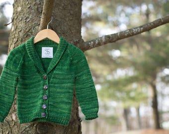 Handknit Baby Cardigan - green, size 6-9 months