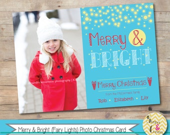 Photo Christmas Card, Merry & Bright, Fairy Lights, Kids Christmas Card, Personalized, Printable, White Christmas Card, Blue and White, Xmas