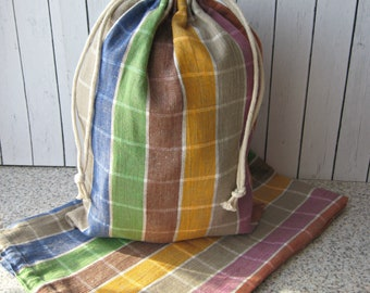 Linen Drawstring Bag,  Storage bag from  checkered linen , organic food storage, Natural Linen