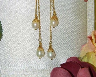 White Freshwater Pearl Dangle Earrings