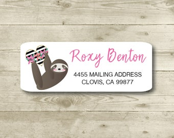Sloth, Heart, Return Address Label, Personalized, MATTE, All Occasions