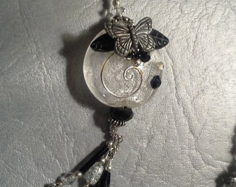 Black & White Butterfly Embellished Necklace