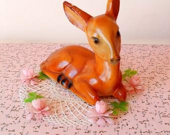 Vintage large fawn chalkware figurine