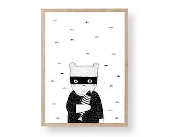 Printable Nursery Art, Bandit Bear, Kids Room Art, Scandinavian Art Print, Nursery wall Art, Nursery Decor