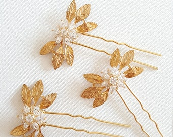 Wedding Hair Pins, Bridal Hair Pins, Gold Leaf Wedding Hair Pins, Wedding Headpiece, Gold Hair Pins