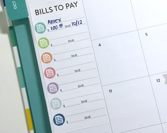 Bill tracker stickers for DAILY Simplified Planner