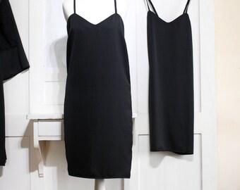 Black Satin Slip Dress, Black Lingerie, Black Satin Dress, Satin Pyjamas