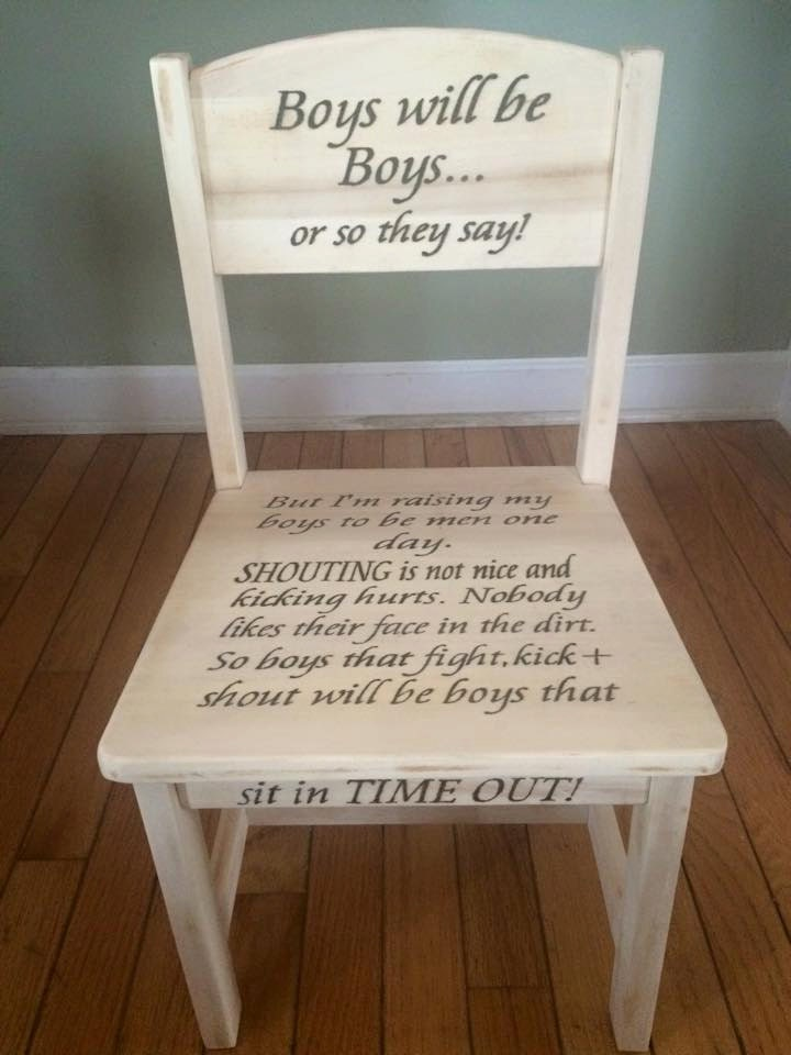 Boys will be Boys TIME OUT chair time out toddler chair