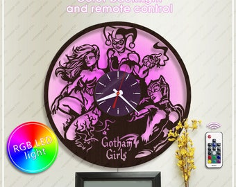 Harley Quinn Clock| DC Comics Clock| Poison Ivy Wooden Clock with Led Light| Batman Gift| Wall Clock *w068 Catwoman Clock| DC Fan Gift