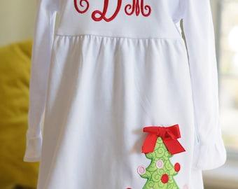 White Ruffle Monogram Dress with Christmas Tree - Holiday Red - Empire Waist - Child, Girls, Toddler, Baby