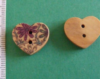 wooden button, set of 10, heart, 15mmx17mm