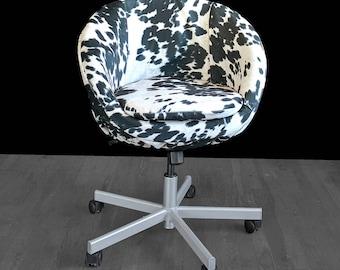 IKEA Black Faux Cow Hide SKRUVSTA Chair Slip Cover