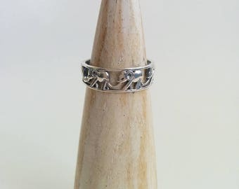 Vintage Sterling Silver Lucky Walking Elephants Ring