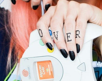 Game Over Finger Temporary Tattoos