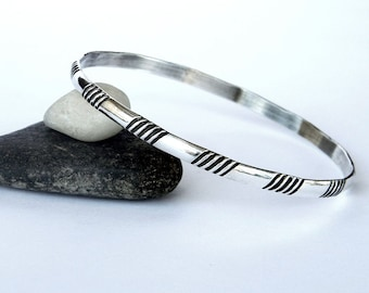 Bright & Shiny Solid Sterling Silver Bangle, Simple Bracelet, Simple Sterling Bangle, Stacking Bracelet
