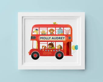 Red London Bus –  Personalized Children's Art Print