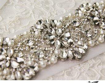 "Rhinestone Wedding Sash 24"", Bridal sash, Bridal Accessories, Bridal Belt and sashes, Sash for Wedding Dress"