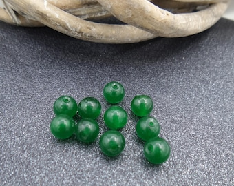 10 6 mm dark green jade beads
