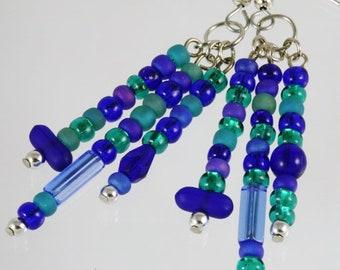 Vintage Matte Cobalt Blue and Green Bead Dangle Earrings