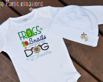 Custom Embroidered Frogs and Snails and Puppy Dog Tails Baby Bodysuit and Hat Set / Newborn - 24 Months