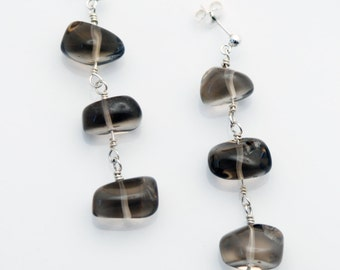 SMOKEY QUARTZ brown gray and STERLING Silver Dangle earrings for Stability and Protection