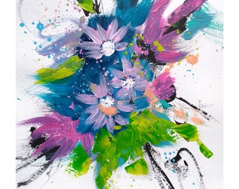 Art, flower painting, violet art, spring flowers, original painting, 11x14 on paper,