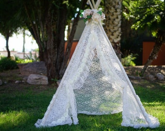 Lacey teepee, lace kids Teepee, girls tipi, Play tent, wigwam or playhouse with ruffle trim and shabby roses