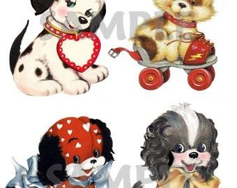 Set of 4 different Vintage Dogs, digtial, download, printable, vintage greeting cards
