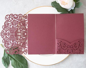 Burgundy Shimmer Laser Cut Invitation. Wedding Invitation. Quince. Sweet Sixteen. Custom Colors. Lace Invitation Pocket. Anniversary