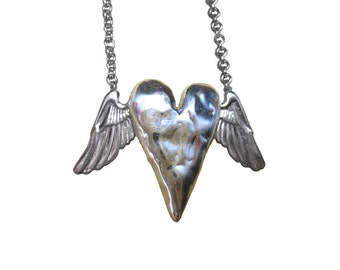 Heart Necklace      wing silver gold winged tall jewelry