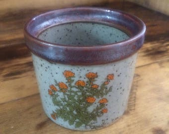 Planter. Brown with Orange Flowers Small Planter
