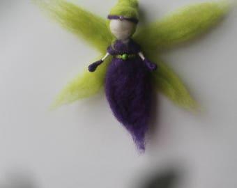 """Medieval, purple & green fairy """"Prinsez Adrian"""" woolen Waldorf Steiner"""