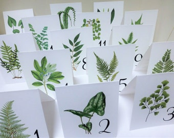 Woodland Table Cards, Woodland Table Numbers,  Woodland Wedding, Table Tents Garden Table Cards,  Leaf Numbers, Wedding Table Cards W109