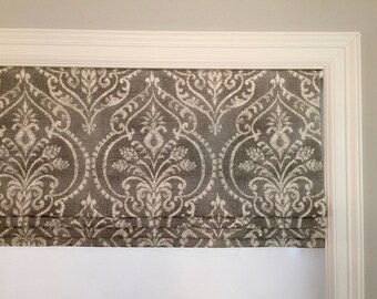 Faux (fake) flat roman shade valance. Your choice of fabric(up to 10 dollars/yd)! Custom Sizing. Swavelle/Millcreek Dalusio Damask Pebble.