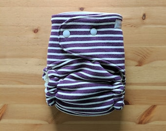 Plum Knit OBF Hybrid Fitted Diaper - OS Hybrid Fitted Cloth Diaper - OS Fitted Diaper with Fold Down Rise