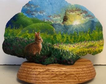 Oil on bracket fungus. 'Rabbit at Dawn'
